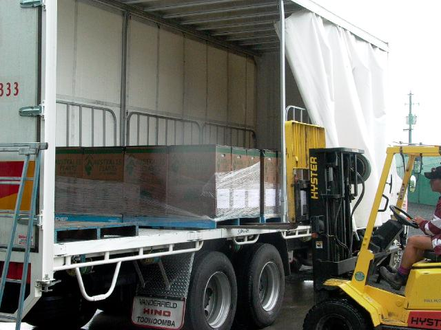 Freight loading sealed boxes for tasmania